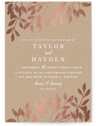 Fall in Love Foil-Pressed Wedding Invitations