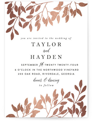 This is a portrait botanical, rustic, pink Wedding Invitations by Angela Thompson called Fall in Love with Foil Pressed printing on Signature in Classic Flat Card format. Branches with flowing autumn leaves paired with elegant type to set the scene ...
