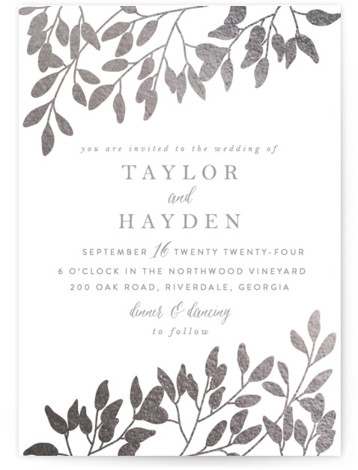 This is a portrait botanical, rustic, white, silver Wedding Invitations by Angela Thompson called Fall in Love with Foil Pressed printing on Signature in Classic Flat Card format. Branches with flowing autumn leaves paired with elegant type to set the ...