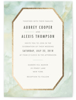 This is a green foil stamped wedding invitation by Elly called Gratitude with foil-pressed printing on signature in standard.