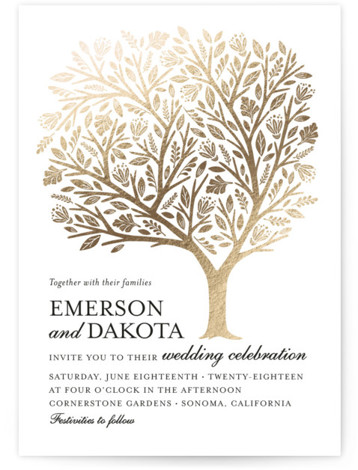 This is a portrait botanical, illustrative, rustic, whimsical, gold Wedding Invitations by Griffinbell Paper Co. called Isola Bella with Foil Pressed printing on Signature in Classic Flat Card format. The classic tree motif interpreted to showcase botanical flourishes and woodcut ...