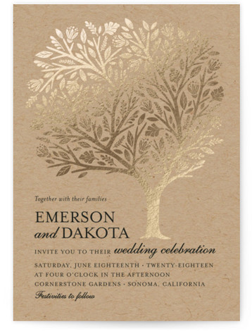 This is a portrait botanical, illustrative, rustic, whimsical, brown Wedding Invitations by Griffinbell Paper Co. called Isola Bella with Foil Pressed printing on Signature in Classic Flat Card format. The classic tree motif interpreted to showcase botanical flourishes and woodcut ...