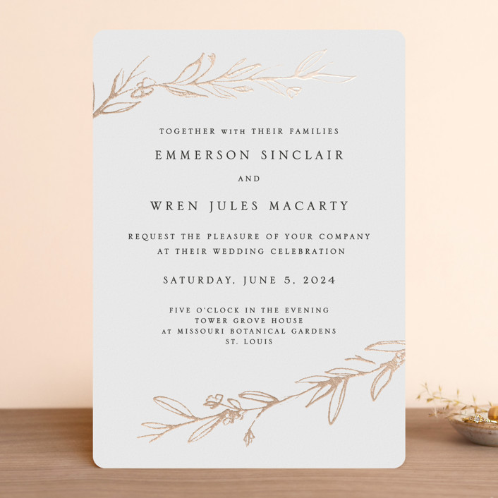 """Metallic Branches"" - Rustic Foil-pressed Wedding Invitations in Gold by Mere Paper."