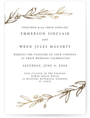 Metallic Branches Foil-Pressed Wedding Invitations