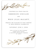 This is a gold foil stamped wedding invitation by Mere Paper called Metallic Branches with foil-pressed printing on signature in standard.