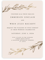 This is a pink foil stamped wedding invitation by Mere Paper called Metallic Branches with foil-pressed printing on signature in standard.