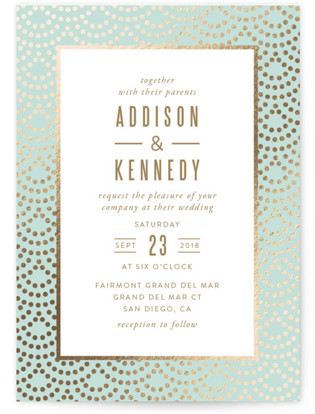 Shimmer Foil Pressed Wedding Invitations By Kampai Designs