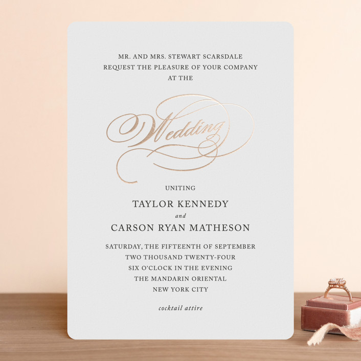 """""""Timeless Grace"""" - Foil-pressed Wedding Invitations in Gold by Kimberly FitzSimons."""