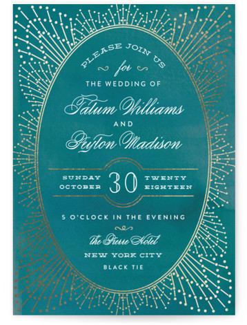 This is a portrait vintage, blue Wedding Invitations by Chris Griffith called Wedding Sparkler with Foil Pressed printing on Signature in Classic Flat Card format. Gold foil sparkles surround an elegant oval that frames a formal wedding invitation
