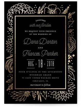 photo of Classy Love Sign Foil Pressed Wedding Invitations
