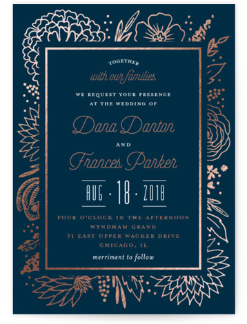 This is a portrait botanical, blue Wedding Invitations by Petra Kern called Classy Love Sign with Foil Pressed printing on Signature in Classic Flat Card format. Elegant floral logo save the date sign.