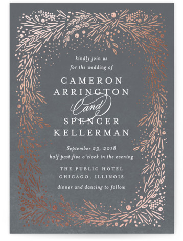 This is a portrait botanical, rustic, grey Wedding Invitations by Kristie Kern called Folio with Foil Pressed printing on Signature in Classic Flat Card format. Dreamy starlit garden frame, featuring foil.