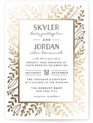 Gilded Glyph Foil-Pressed Wedding Invitations