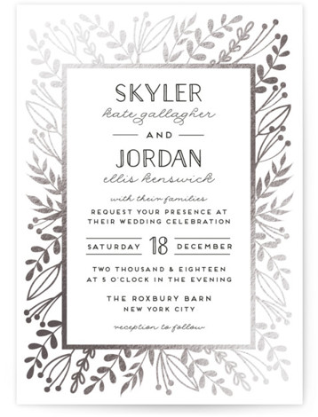 This is a portrait botanical, rustic, silver Wedding Invitations by shoshin studio called Gilded Glyph with Foil Pressed printing on Signature in Classic Flat Card format. Vintage botanicals in antiqued gold frame complement a 'back to nature' event