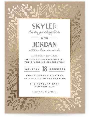 This is a portrait botanical, rustic, brown Wedding Invitations by shoshin studio called Gilded Glyph with Foil Pressed printing on Signature in Classic Flat Card format. Vintage botanicals in antiqued gold frame complement a 'back to nature' event