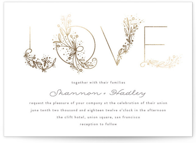 This is a landscape botanical, whimsical, gold Wedding Invitations by Phrosne Ras called Love Floral Sketch with Foil Pressed printing on Signature in Classic Flat Card format. A hand drawn detailed design spelling LOVE beautifully.