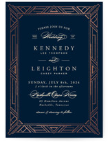 This is a blue foil stamped wedding invitation by Hooray Creative called Opulent Border with foil-pressed printing on signature in standard.