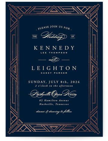 This is a portrait abstract geometric, classical, elegant, formal, metallic, vintage, blue Wedding Invitations by Hooray Creative called Opulent Border with Foil Pressed printing on Signature in Classic Flat Card format. A custom, art deco inspired border with elegant type ...