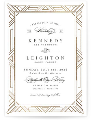 Ont Border Foil Pressed Wedding Invitations By Ay Creative