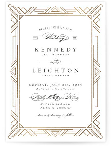 This is a portrait abstract geometric, classical, elegant, formal, metallic, vintage, white, black, gold Wedding Invitations by Hooray Creative called Opulent Border with Foil Pressed printing on Signature in Classic Flat Card format. A custom, art deco inspired border with ...