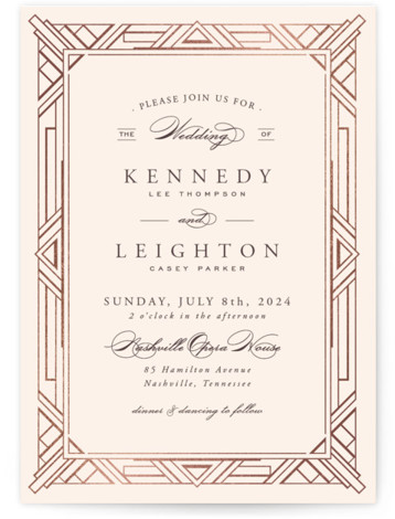 This is a portrait abstract geometric, classical, elegant, formal, metallic, vintage, beige Wedding Invitations by Hooray Creative called Opulent Border with Foil Pressed printing on Signature in Classic Flat Card format. A custom, art deco inspired border with elegant type ...