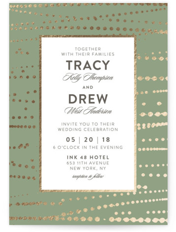 This is a portrait vintage, green Wedding Invitations by Ana Sharpe called Romantic Ripples with Foil Pressed printing on Signature in Classic Flat Card format. This wedding invitation features modern organic texture creating an unique frame.