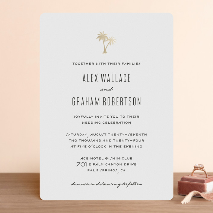 """""""Gilded Palms"""" - Foil-pressed Wedding Invitations in Cotton by carla san roman."""