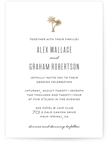 This is a portrait simple and minimalist, white Wedding Invitations by jot and tittle design called Gilded Palms with Foil Pressed printing on Signature in Classic Flat Card format. A clean simple design that features a gold foil palm trees. ...