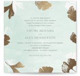 This is a green foil stamped wedding invitation by Monica Cheng called Ginkgo Flutters with foil-pressed printing on signature in standard.