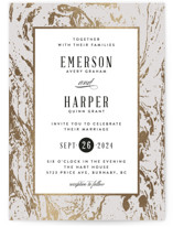 This is a white foil stamped wedding invitation by Kelly Schmidt called Modern Marble with foil-pressed printing on signature in standard.
