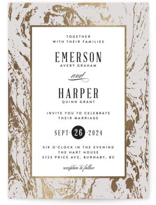 Modern Marble Foil-Pressed Wedding Invitations