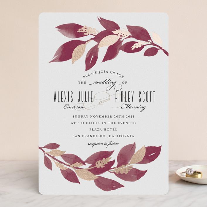 """Glamorous Foliage"" - Foil-pressed Wedding Invitations in Burgundy by Four Wet Feet Studio."