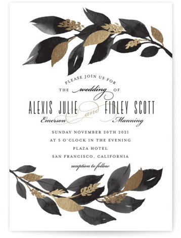 This is a black foil stamped wedding invitation by Four Wet Feet Studio called Glamorous Foliage with foil-pressed printing on signature in standard.