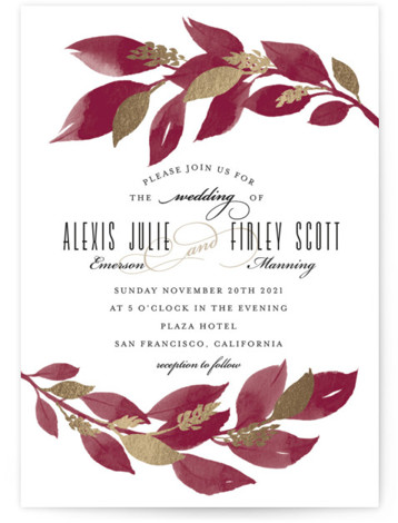 This is a portrait red, gold Wedding Invitations by Four Wet Feet Studio called Glamorous Foliage with Foil Pressed printing on Signature in Classic Flat Card format. A modern wedding invite features botanical watercolor illustrations and foil accents.