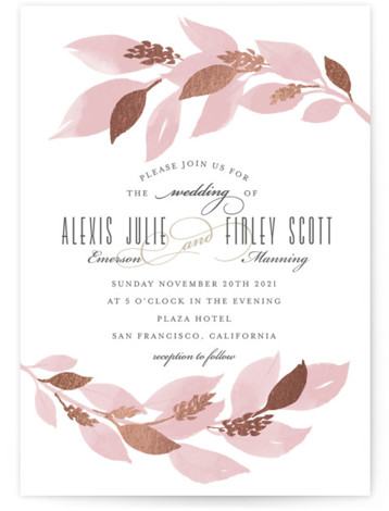 This is a portrait pink, rosegold Wedding Invitations by Four Wet Feet Studio called Glamorous Foliage with Foil Pressed printing on Signature in Classic Flat Card format. A modern wedding invite features botanical watercolor illustrations and foil accents.