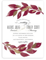This is a red foil stamped wedding invitation by Four Wet Feet Studio called Glamorous Foliage with foil-pressed printing on signature in standard.