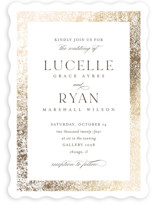 This is a brown foil stamped wedding invitation by Pixel and Hank called Inlay with foil-pressed printing on signature in standard.