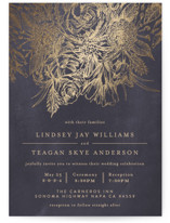 This is a purple foil stamped wedding invitation by Phrosne Ras called Sketched Bouquet with foil-pressed printing on signature in standard.