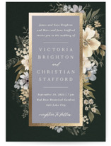 This is a blue foil stamped wedding invitation by Wildfield Paper Co called Midnight Spring with foil-pressed printing on signature in standard.