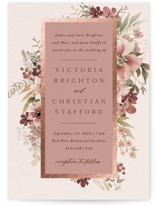 This is a pink foil stamped wedding invitation by Wildfield Paper Co called Midnight Spring with foil-pressed printing on signature in standard.