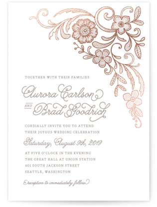 Floral Embroidery Foil-Pressed Wedding Invitations