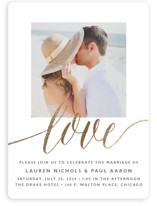 This is a gold foil stamped wedding invitation by Erin Deegan called A Sparkly Love with foil-pressed printing on signature in standard.
