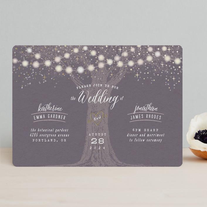 """Garden Lights"" - Rustic Foil-pressed Wedding Invitations in Plum by Hooray Creative."