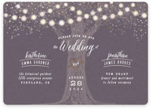 This is a purple foil stamped wedding invitation by Hooray Creative called Garden Lights with foil-pressed printing on signature in standard.
