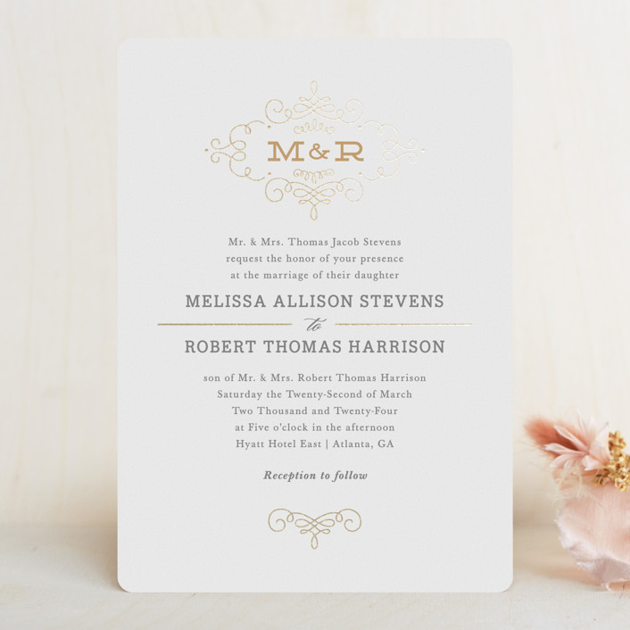 """Ornate Monogram"" - Monogrammed, Elegant Foil-pressed Wedding Invitations in Gold by Kristen Smith."