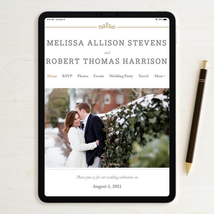 Wedding Invitation Website: Ornate Monogram Foil-Pressed Wedding Invitations By