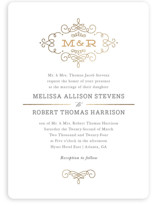 This is a grey foil stamped wedding invitation by Kristen Smith called Ornate Monogram with foil-pressed printing on signature in standard.