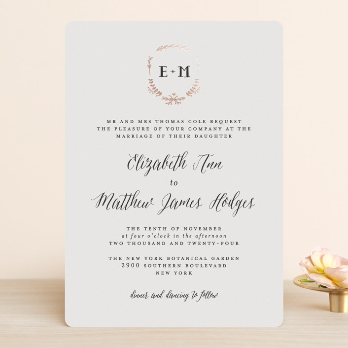 """""""Always"""" - Foil-pressed Wedding Invitations in Rose Gold by Susan Brown."""