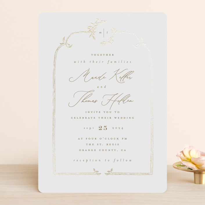 """""""Reflection"""" - Rustic Foil-pressed Wedding Invitations in Porcelain by Leah Bisch."""