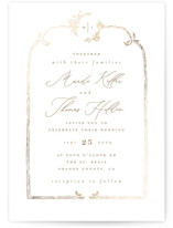 This is a white foil stamped wedding invitation by Leah Bisch called Reflection with foil-pressed printing on signature in standard.